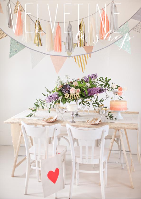 Slingers, taarttoppers, tafellopers en andere decoratie voor je bruiloft van Velvetine