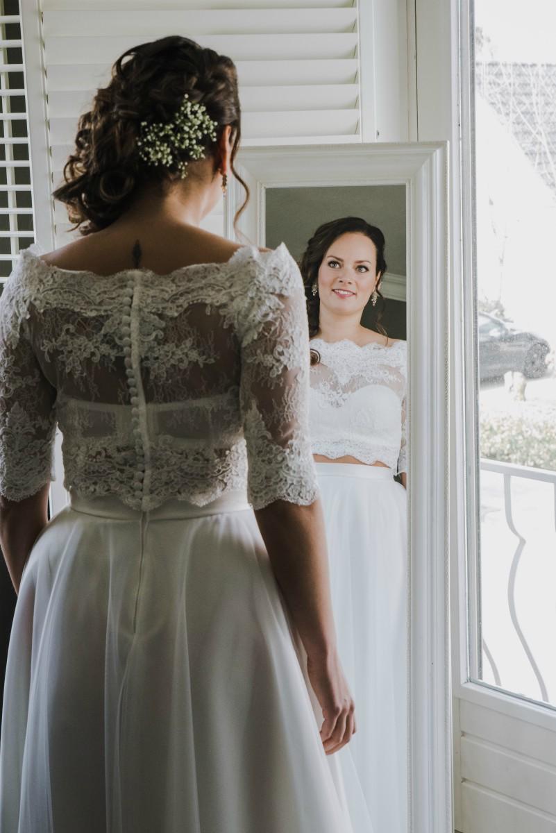 Simone classy crop top trouwjurk trouwen zonder trouwjurk Assepoester